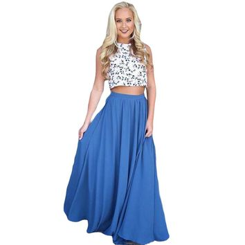 Summer Boho Skirt Women High Waist Pleated Big Hem Bohemian Style Maxi Skirt Solid Color Laies Long Skirt