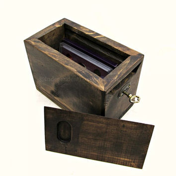 Rustic Wooden Slide Top Box & Lock - Lockable Small Storage Box - Keyed Memory Box, Unique Keepsake Box, Little Treasure Box, Memorial Box