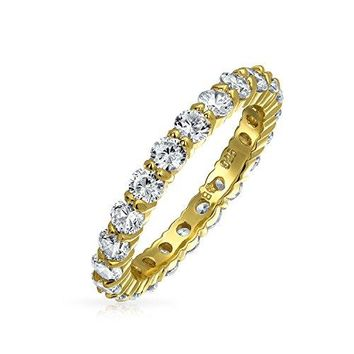 Stackable Clear CZ Eternity Wedding Band Ring 925 Silver