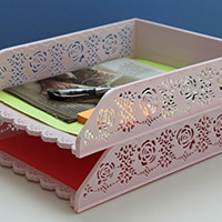 Letter Tray, Cute Desk Organizer, Stackable File Holder - Set of 2 Plastic A4 office bins(Pink)