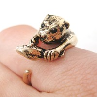 Otter Holding a Fish Shaped Animal Wrap Around Ring in Shiny Gold | US Sizes 4 to 9