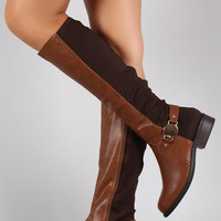 Bamboo Metallic Hardware Round Toe Riding Knee High Boot