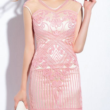 V-Neck Embroidered Sleeveless Mesh Panelled Dress