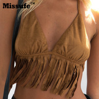 Missufe 2017 Sexy Deep V Neck Suede Halter Crop Top Backless Vest Fashion Lace Up Camisole Tassel Bandage Women Tops Blusa