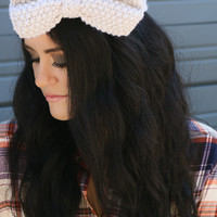 Sweet Nectar Cream Crochet Knit Bow Headband