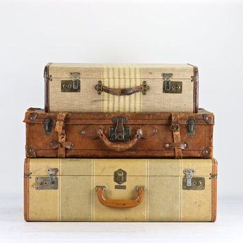 Vintage Striped Suitcase, Vintage Suitcase, Suitcase, Old Suitcase, Tweed Suitcase, Luggage, Old Luggage, 1940's Suitcase