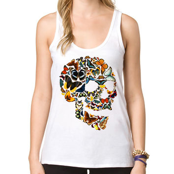 Butterfly Skull Women Tank tops Vintage Art Skull Printed Lady Slim