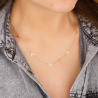 Chevron necklace • V necklace • Rose Gold Charm Necklace • Triangle Necklace • Simple Layering Jewelry • Geometric necklace  • 0286NM