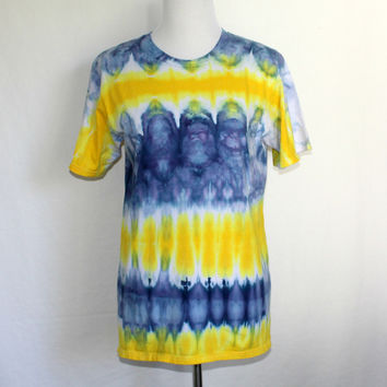 Mens Blue and Gold Shirt, Yellow and Blue Tie Dye T-Shirt, Mens Medium Tye Dye Top, Mens Tie Dye Shirt, Striped Shirt