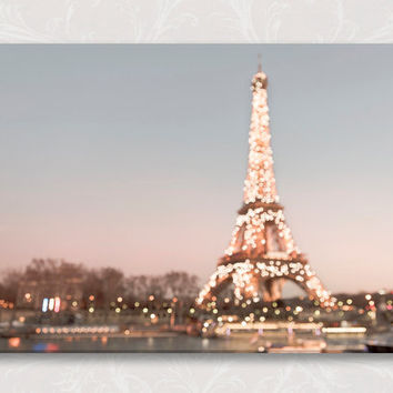 Paris Photograph on Canvas, Paris Sparkle Fine Art Photo on Canvas, Twinkle Lights, Large Wall Art, French Home Decor