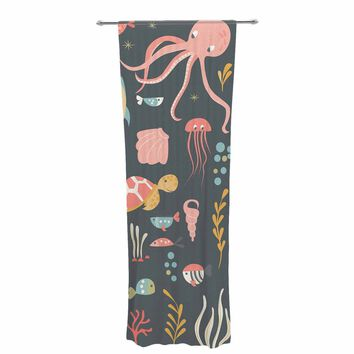 "Bluelela ""Underwater World"" Blue Pink Animals Kids Digital Vector Decorative Sheer Curtain"