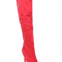 Red Knee High Heel Boots Faux