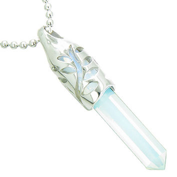 Positive Energy Leaf Amulet Crystal Point Lucky Charm Simulated Opalite Pendant 18 Inch Necklace