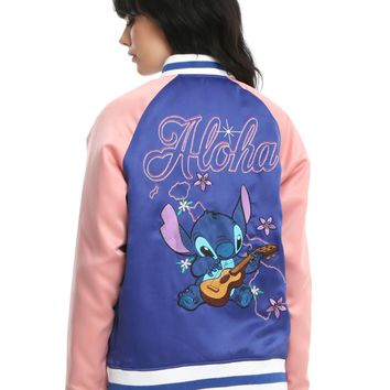 Licensed cool Disney Lilo & Stitch plays Ukulele Blue & Pink Satin Souvenir Bomber Jacket XL