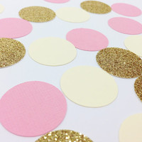 "150 Light Pink + Gold Glitter + Cream Confetti - 1"" - Wedding, Birthday, Bachelorette, Bridal Shower, Baby Shower"