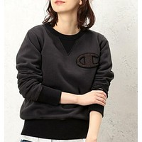 Champion Embroidery Round Collar Long Sleeve Sweater Top Black
