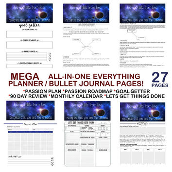 Life Goal Planner, Bullet Journal Kit, Bullet Journal Template, Passion Plan Roadmap, Bullet Journal Inserts, Bullet Journal Pages, Bujo A5