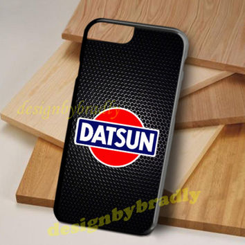 Datsun Logo Black Samsung Galaxy and iPhone 6 6s 7 8 Edge Plus Hard Plastic Case