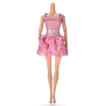 Sequins Dress With Belt For Barbies Dolls 1Pc Summer Princess Clothing Mini Doll Tank Dresses