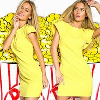 Ladies 2016 Summer Fashion Minimalist Elegant Yellow Flare Ruffle Sleeve O-Neck Dress Casual Women Dresses Cheap Clothes China