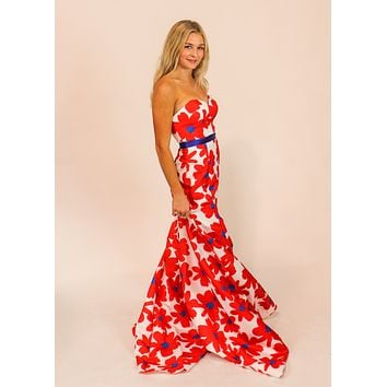 Red Floral Formal Gown
