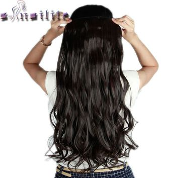 S-noilite Long Curly Clip in Hair Extensions High Temperature Fiber 24inch Hairpiece Extension Synthetic Hair Clips