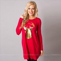 Christmas Red A Line Tunic Top Long Sleeve Gold Deer Head Antlers Trophy size Med Large XL Women's Clothing Gifts Holiday Party Apparel