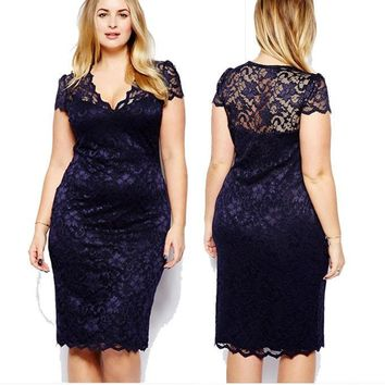 Autumn Women's Fashion Plus Size Hollow Out Short Sleeve Sexy V-neck Lace One Piece Dress [6050453505]