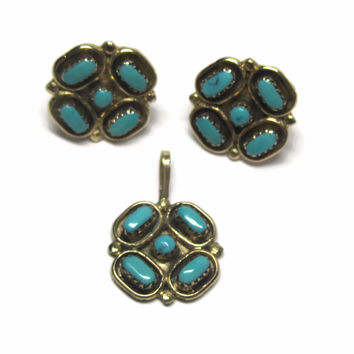 Vintage 14K Navajo Turquoise Necklace and Earrings Jewelry Set