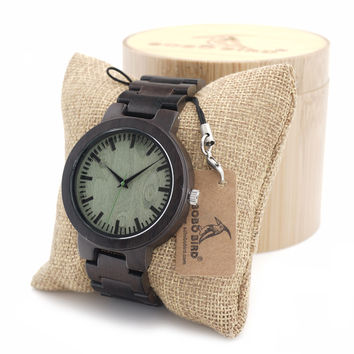 Bobobird 013 Mens Top Brand Design Green Wood Dial Full Bamboo Wooden Quartz Watches for Men in Woob Box Dropshipping