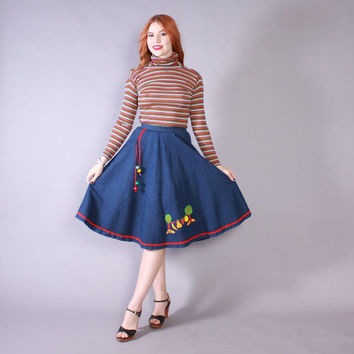Vintage 70s JEAN SKIRT / 1970s High Waisted Denim Novelty Applique Fruit Hippie Skirt S