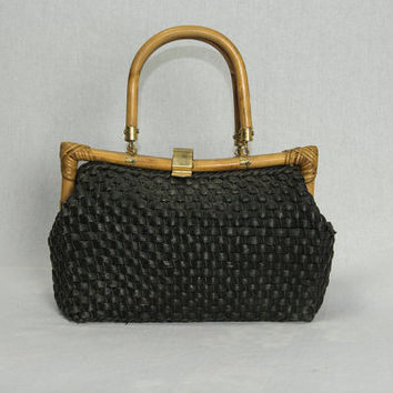 Vintage 1950's Black Bamboo Handbag Tiki Pin-up Purse