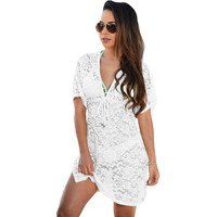 Summer swim suit cover up 2016 Lace Bikini cover up Short kaftan dress crochet cover up beach Wear cangas de praia