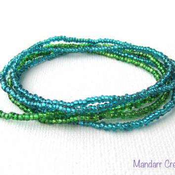 Seed Bead Stretch Bracelets, Set of Five, Blue and Green Silver Lined Stretch Jewelry