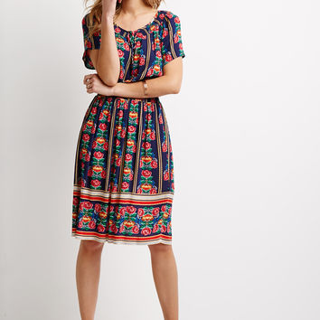 Rose Print Peasant Dress