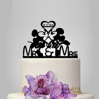 Mickey and Minnie mouse Wedding cake topper with heart and date, mr and mrs wedding cake topper with heart decor, disney wedding cake topper