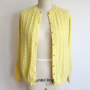 Vintage 60s Bright Yellow Knit Cardigan // Women's Cable Knit Sweater
