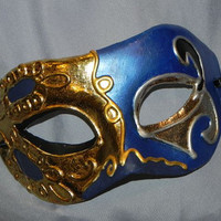Royal Blue, Navy, Black, Gold and Silver Men's Mask