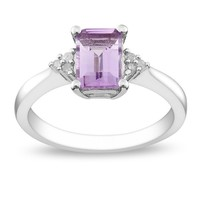 7/8 Carat Amethyst & Diamond Fashion Ring in Sterling Silver