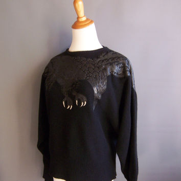 80s corvid raven crow sweater so goth. leather applique on wool and angora