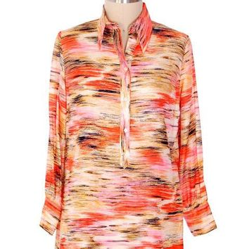 "Vintage Shirtwaist Tunic Mini Dress Pink & Orange Abstract 1970'S 44"" Bust"