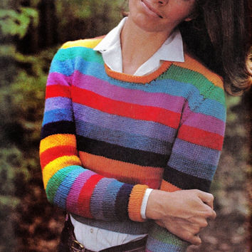 Multi Colored Side Zipper pullover sweater vintage knitting pattern PDF Instant Download cropped sweater vintage knitting pattern 1970s