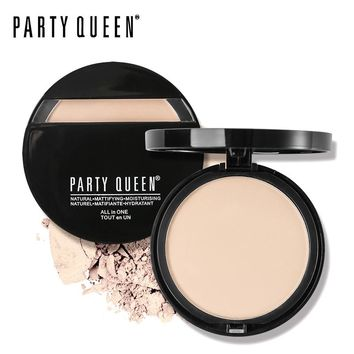 Party Queen Brand Oil-Control Pressed Powder Natural Mineral Face Base Foundation Makeup Matte Finish Contour Palette Concealer