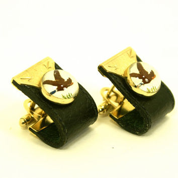 Men's Cufflinks Black Leather Wrap Around and Gold Metal with Bird Illustration under Round Glass Dome by Anson