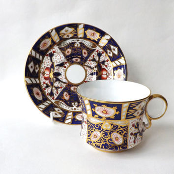 Antique Imari Porcelain Cup & Saucer, Carlton China Derby Pattern Cabinet Cup and Saucer Cobalt Blue and Gold, Antique Gift Stocking Stuffer