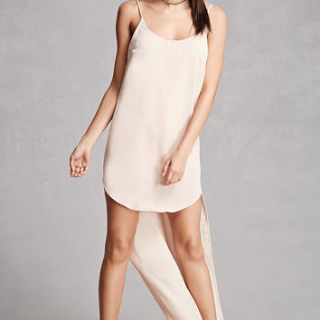 High-Low Satin Slip Dress
