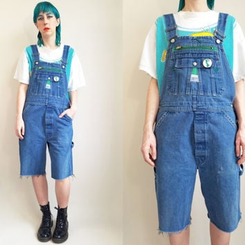 90s Clothing Denim Overalls 90s Overalls 90s Grunge Medium Wash Overalls Shortalls Baggy Overalls Loose Fit Overall 90s Hip Hop Medium Large