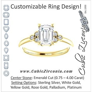 Cubic Zirconia Engagement Ring- The Irene (Customizable Emerald Cut 7-stone with Round Bezel Accents)