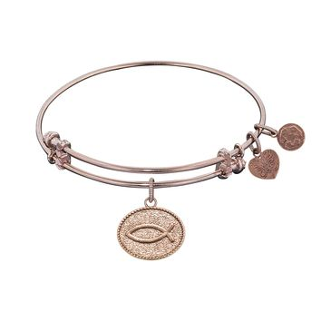 """Angelica Collection Non-antique Stipple Finish Brass """"christian Fish"""" Expandable Bangle"""