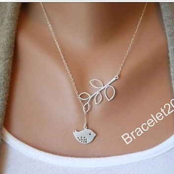 Necklace,leaf necklace,bird necklace,TWO leaves, bird leaf necklace,Antique Silver necklace